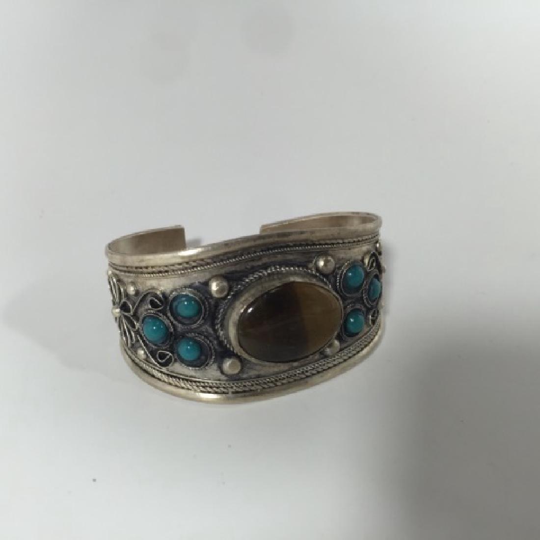Tibetan Style Tiger's Eye Cabochon Set Bracelet - 6
