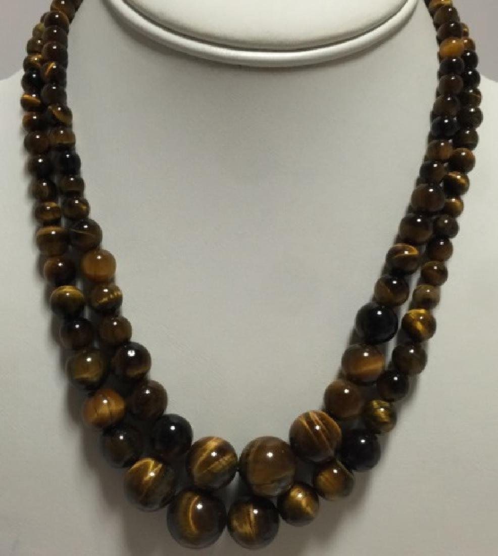 Pair of Carved Tiger's Eye Round Bead Necklaces