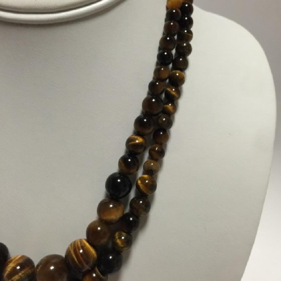 Pair of Carved Tiger's Eye Round Bead Necklaces - 2