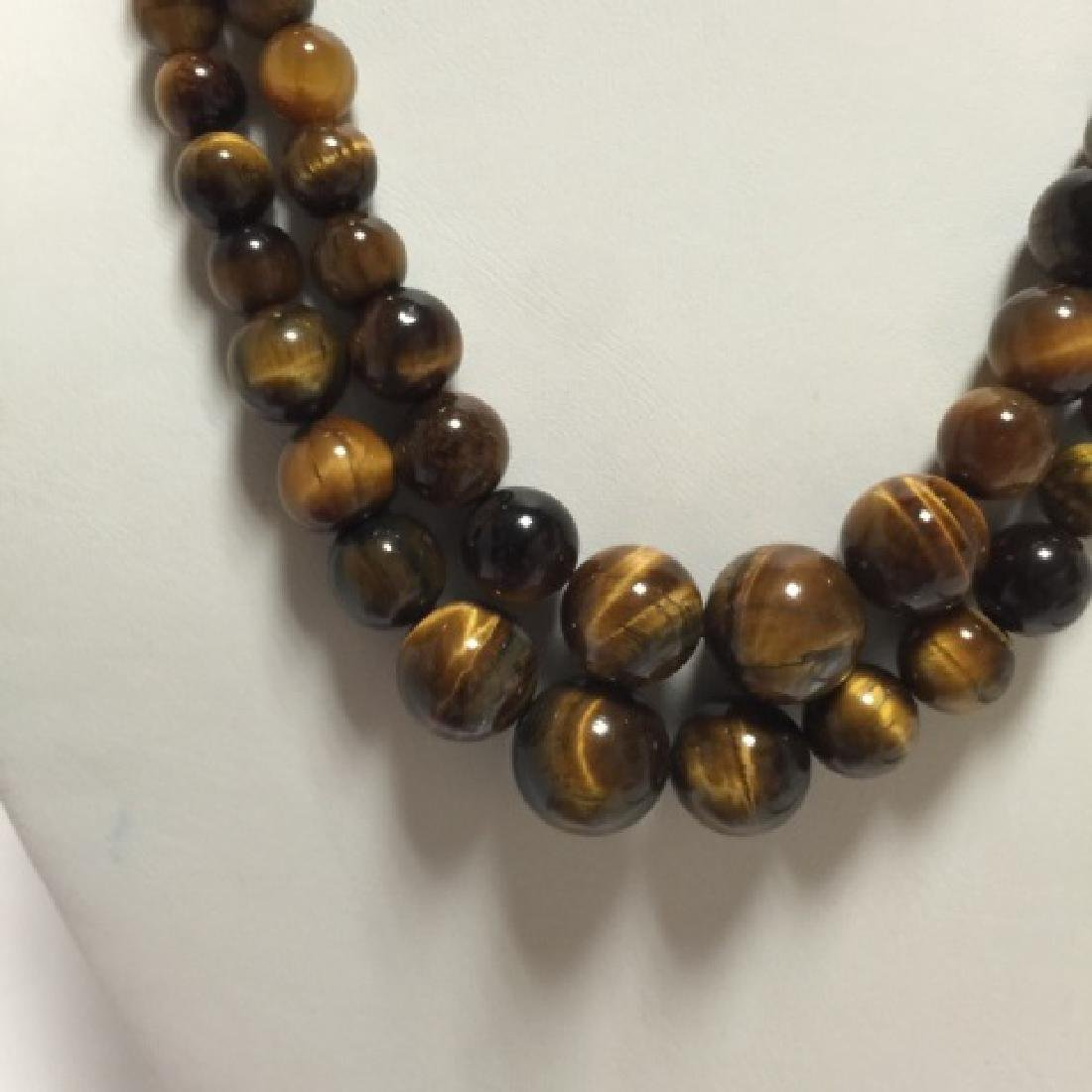 Pair of Carved Tiger's Eye Round Bead Necklaces - 3