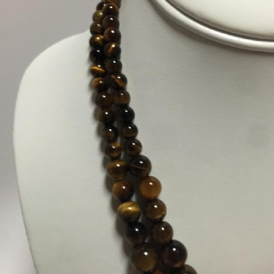 Pair of Carved Tiger's Eye Round Bead Necklaces - 4
