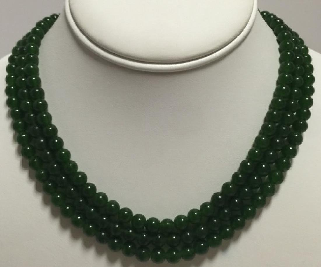 Three Chinese Green Jade Round Bead Necklaces