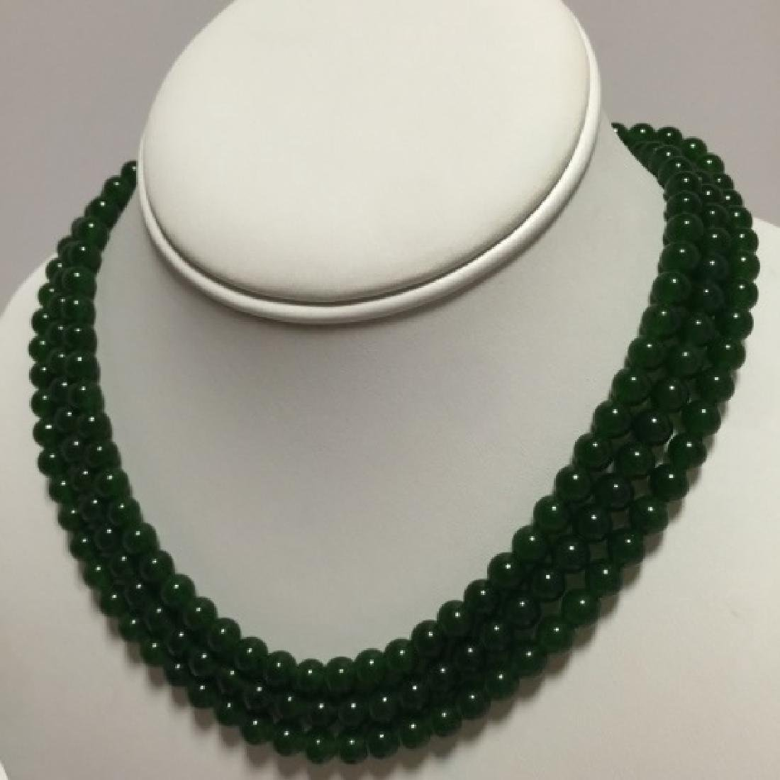 Three Chinese Green Jade Round Bead Necklaces - 2