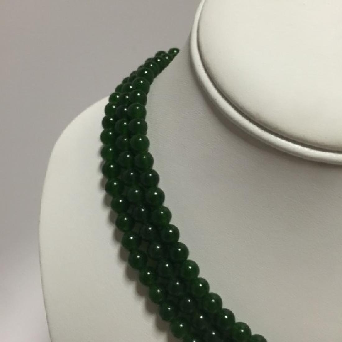 Three Chinese Green Jade Round Bead Necklaces - 3