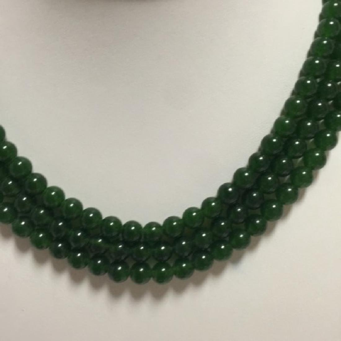 Three Chinese Green Jade Round Bead Necklaces - 4