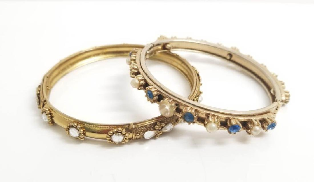 Two Vintage Hinged Gold Tone Bangle Bracelets