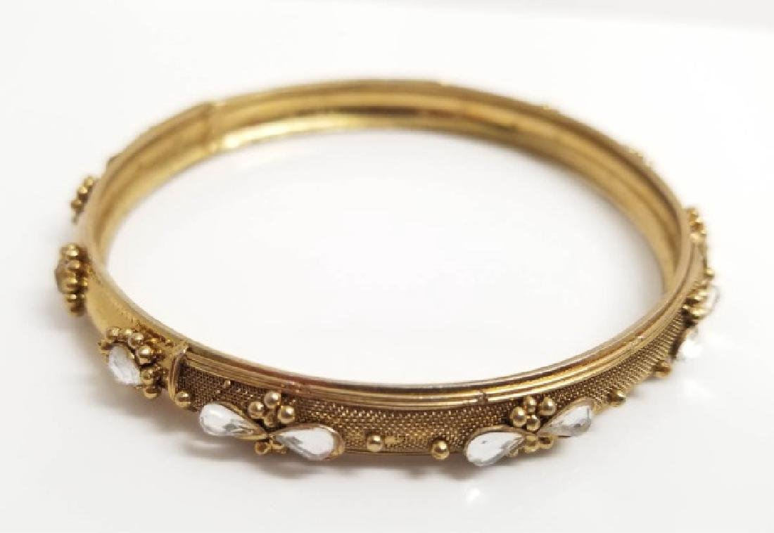 Two Vintage Hinged Gold Tone Bangle Bracelets - 8