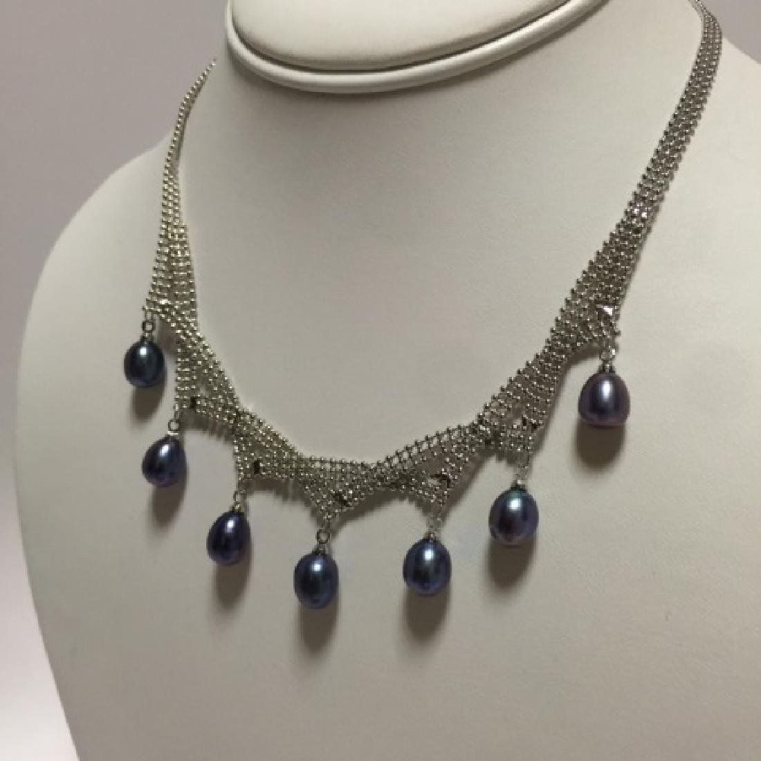 Tahitian Baroque Style Pearl Pendant Mesh Necklace - 3
