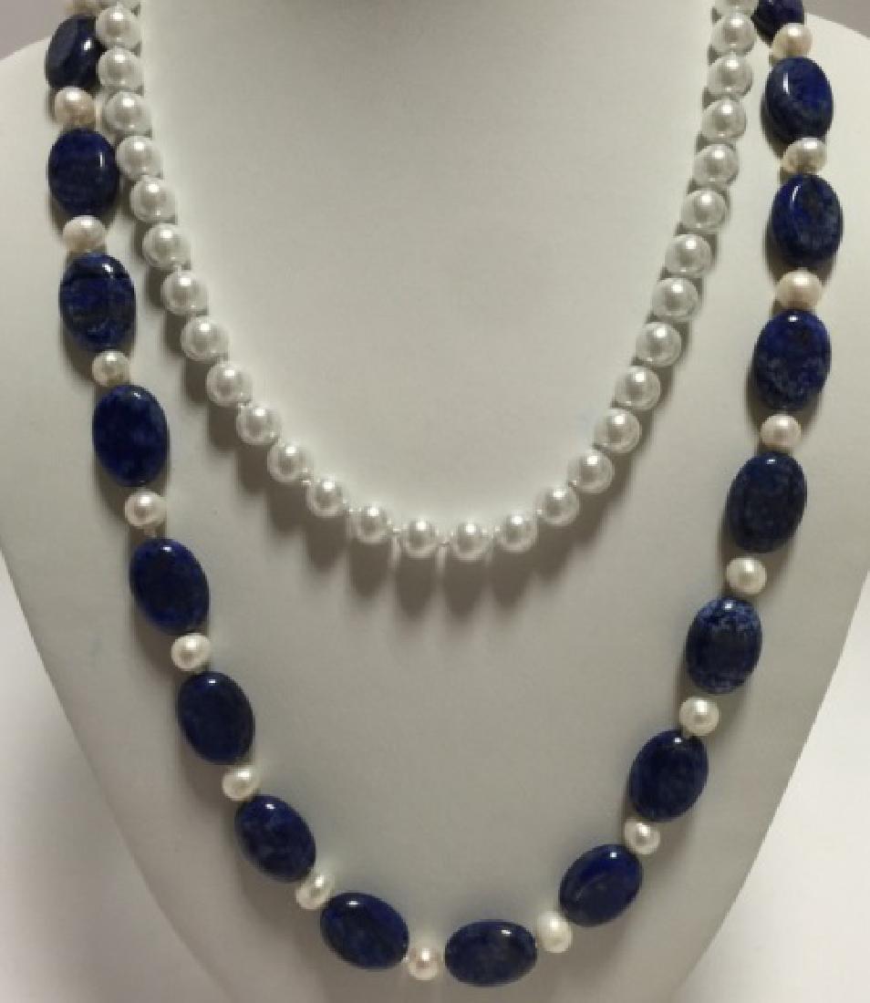 Lapis Lazuli Bead & Baroque Style Pearl Necklace