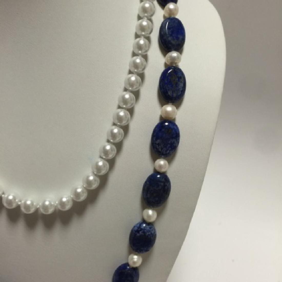 Lapis Lazuli Bead & Baroque Style Pearl Necklace - 2
