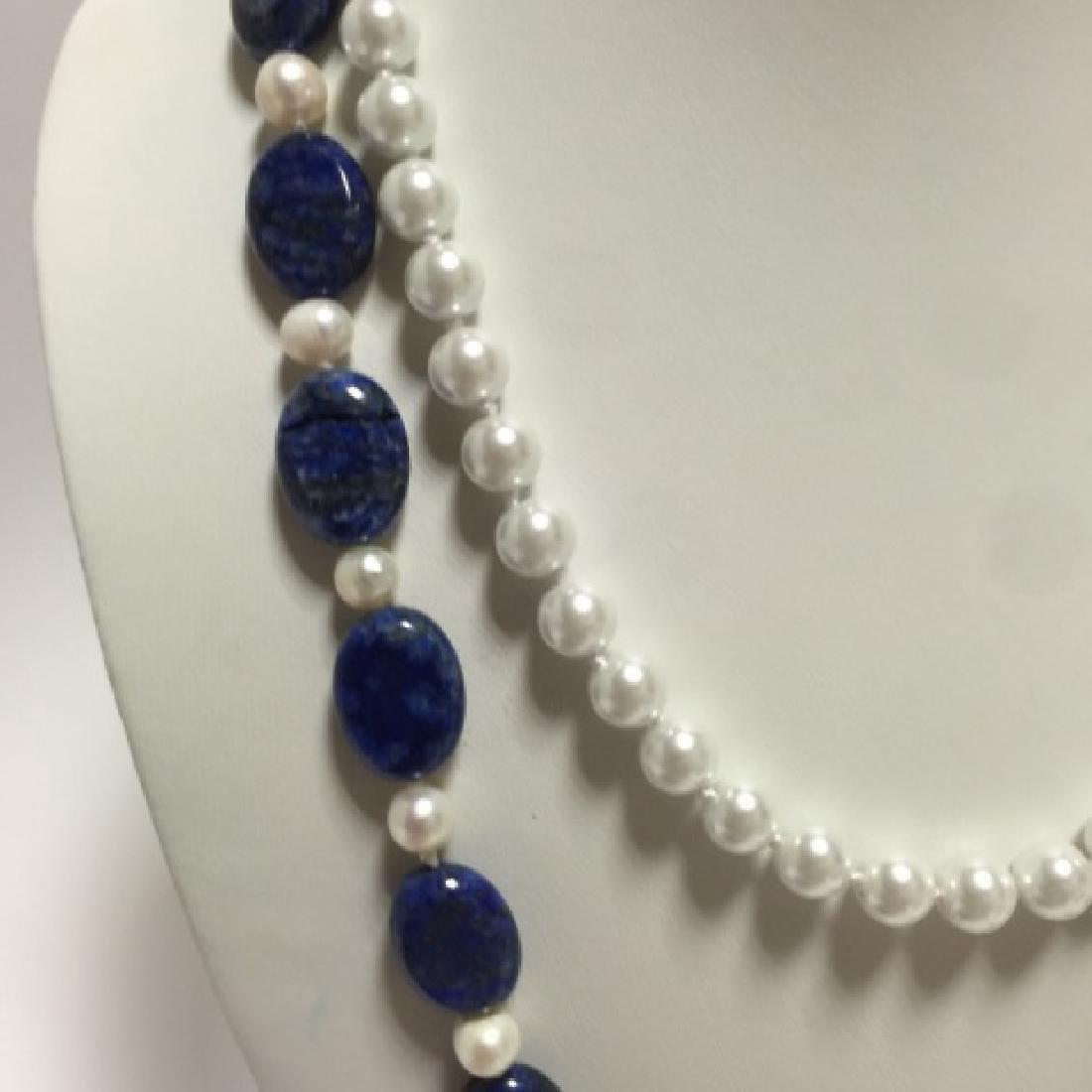 Lapis Lazuli Bead & Baroque Style Pearl Necklace - 3