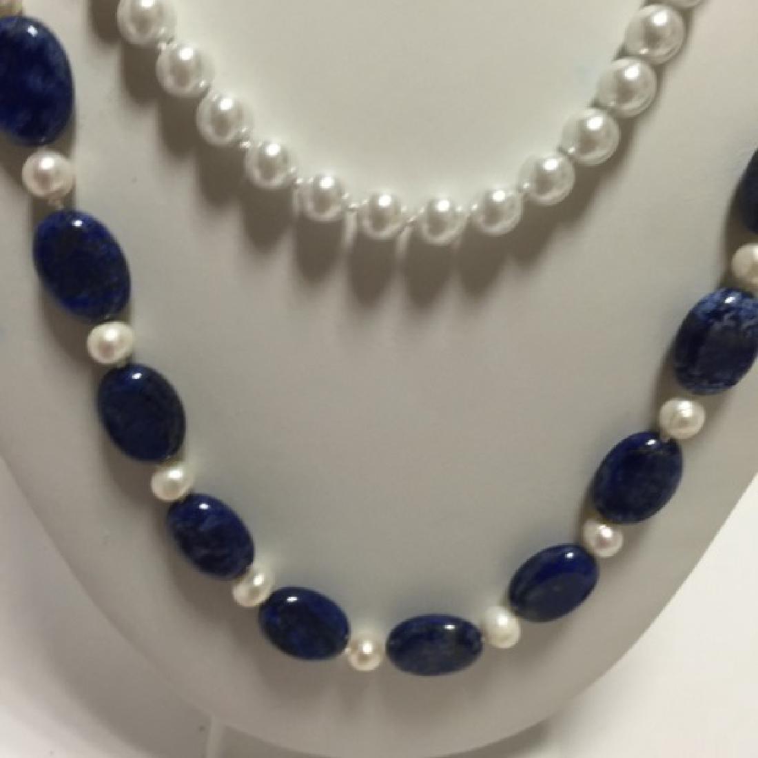 Lapis Lazuli Bead & Baroque Style Pearl Necklace - 4