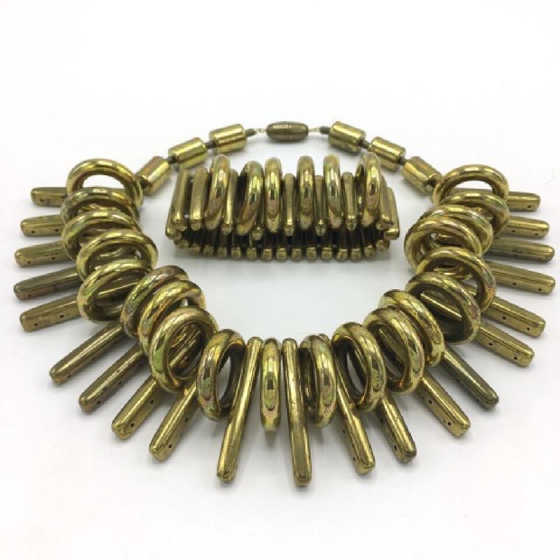 Vintage Sculptural Gold Tone Statement Necklace - 2