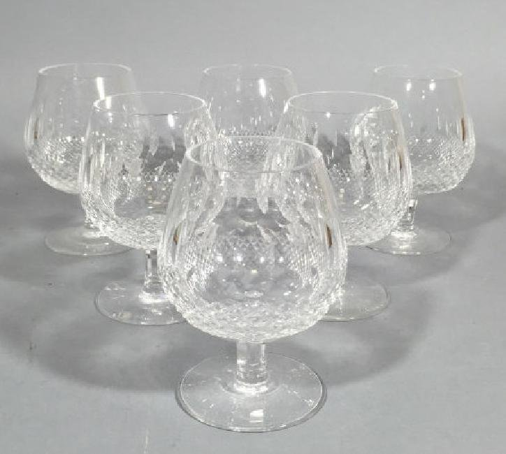 Six Irish Faceted Crystal Waterford Goblets