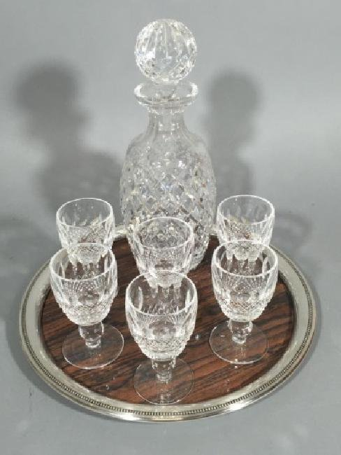 Irish Waterford Crystal Goblets & Decanter on Tray