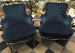 Pr Signed Maison Jansen French Bergere Arm Chairs