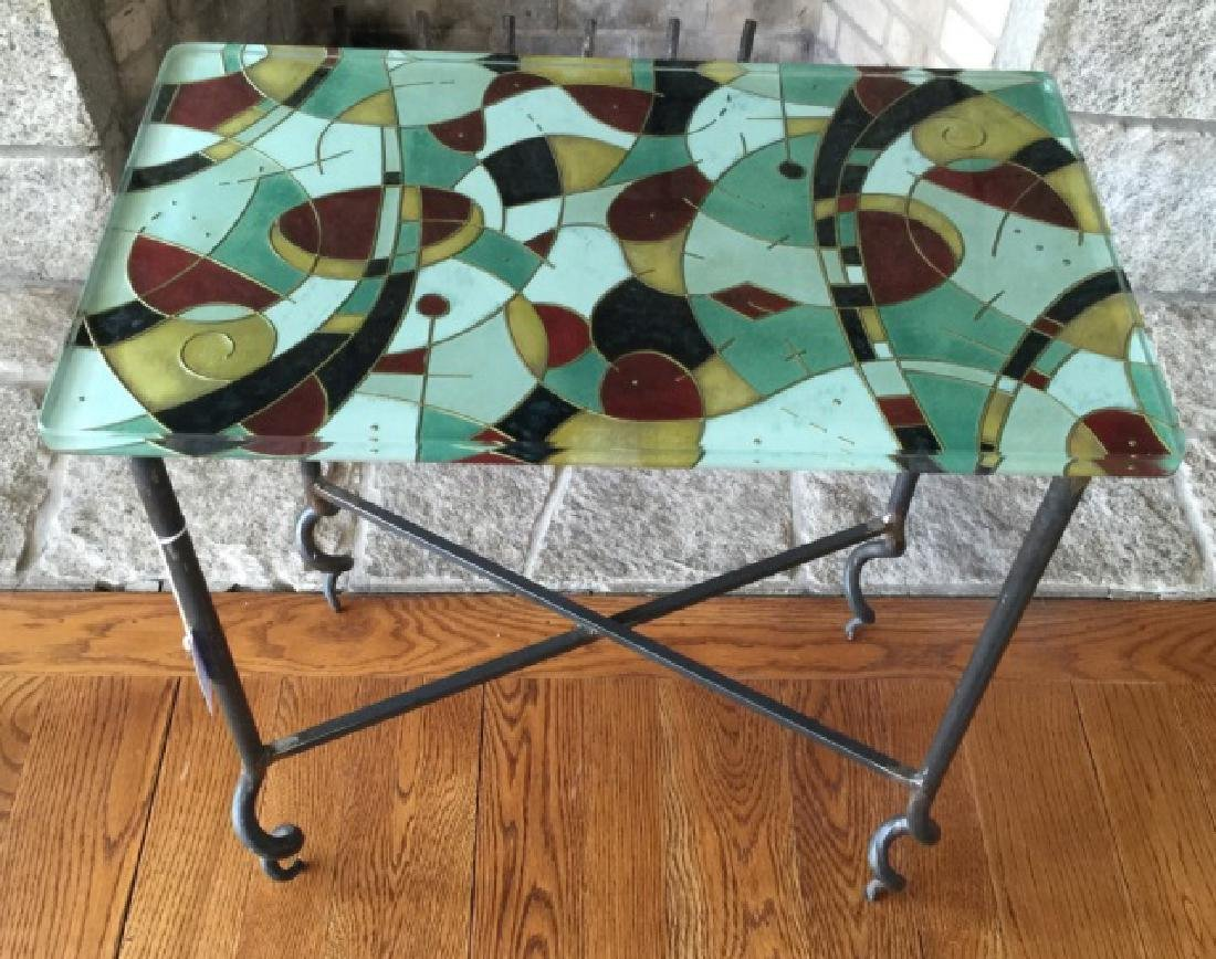 Contemporary Wrought Iron Art Glass Top End Table