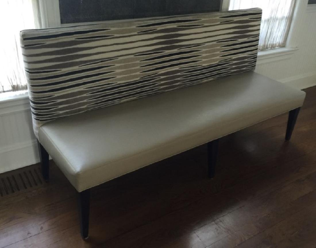 Custom Contemporary Leather & Velvet Settee Bench