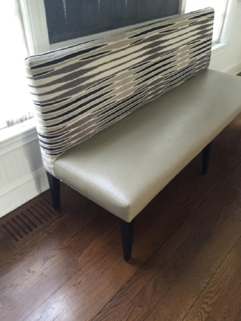 Custom Contemporary Leather & Velvet Settee Bench - 4