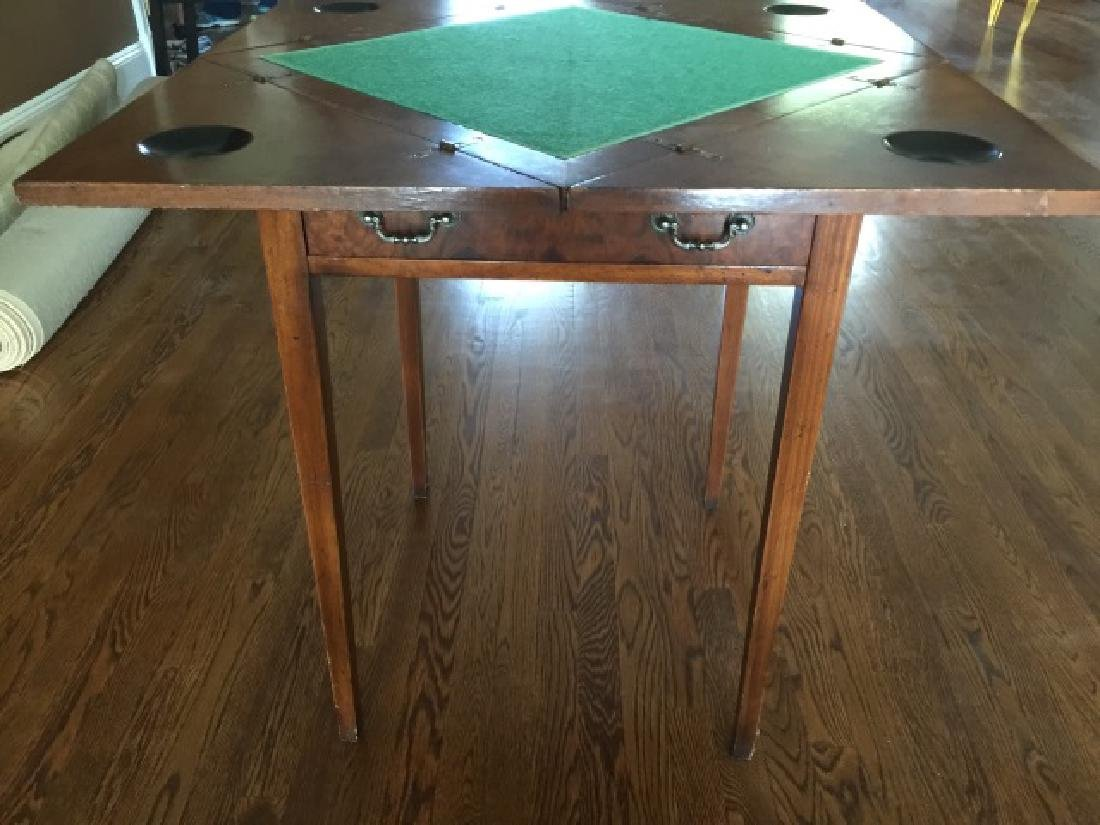 Antique Folding / Rotating Top Games Table - 2