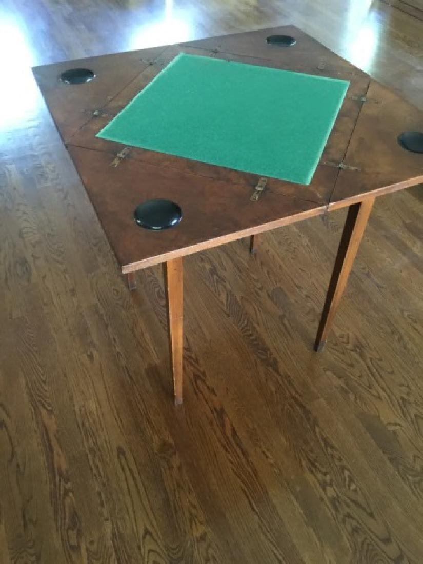 Antique Folding / Rotating Top Games Table - 3
