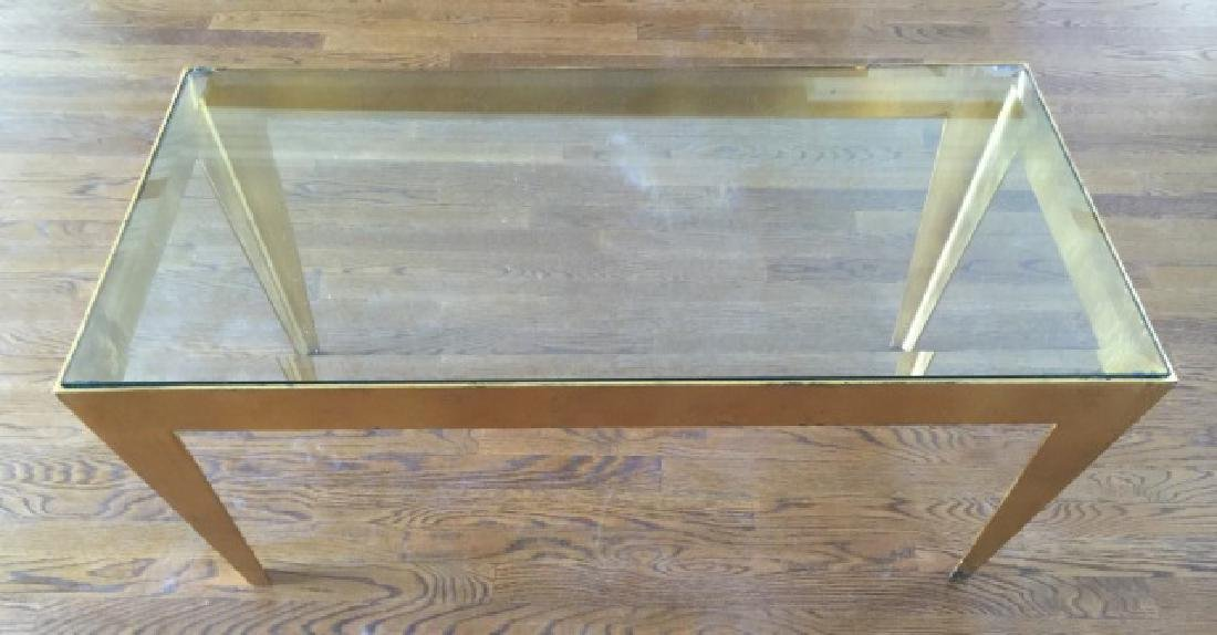 Contemporary Gold Leaf Metal & Glass Coffee Table