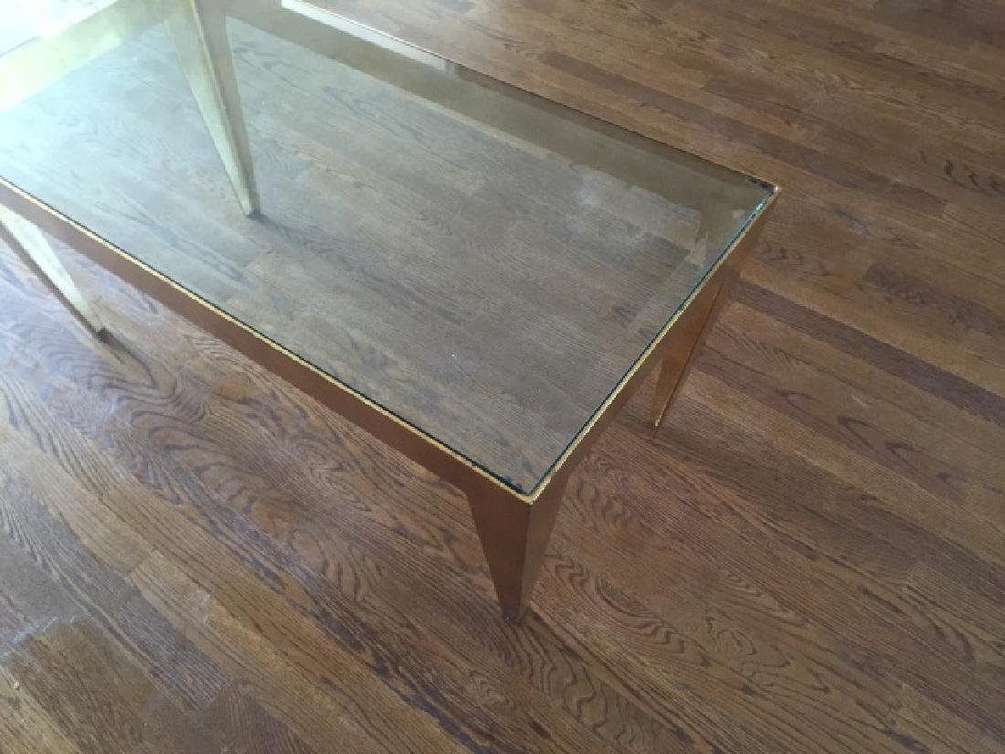 Contemporary Gold Leaf Metal & Glass Coffee Table - 2
