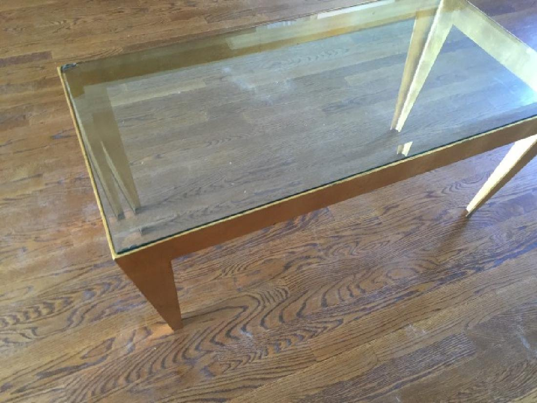 Contemporary Gold Leaf Metal & Glass Coffee Table - 3