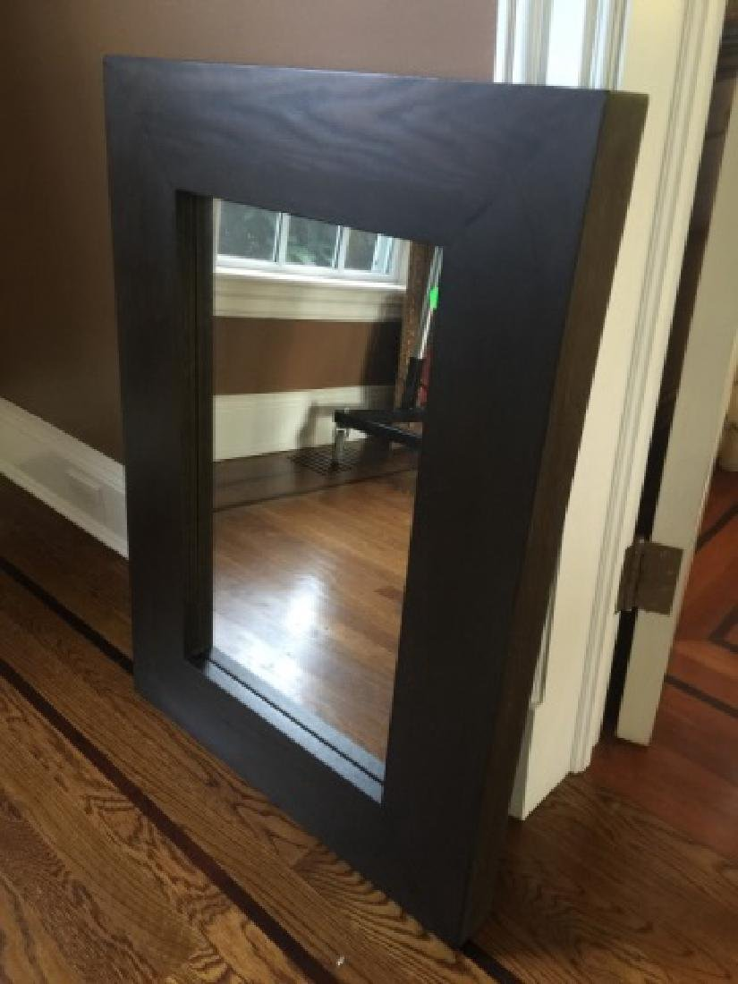 Contemporary Modern Carved Wood Framed Mirror - 2
