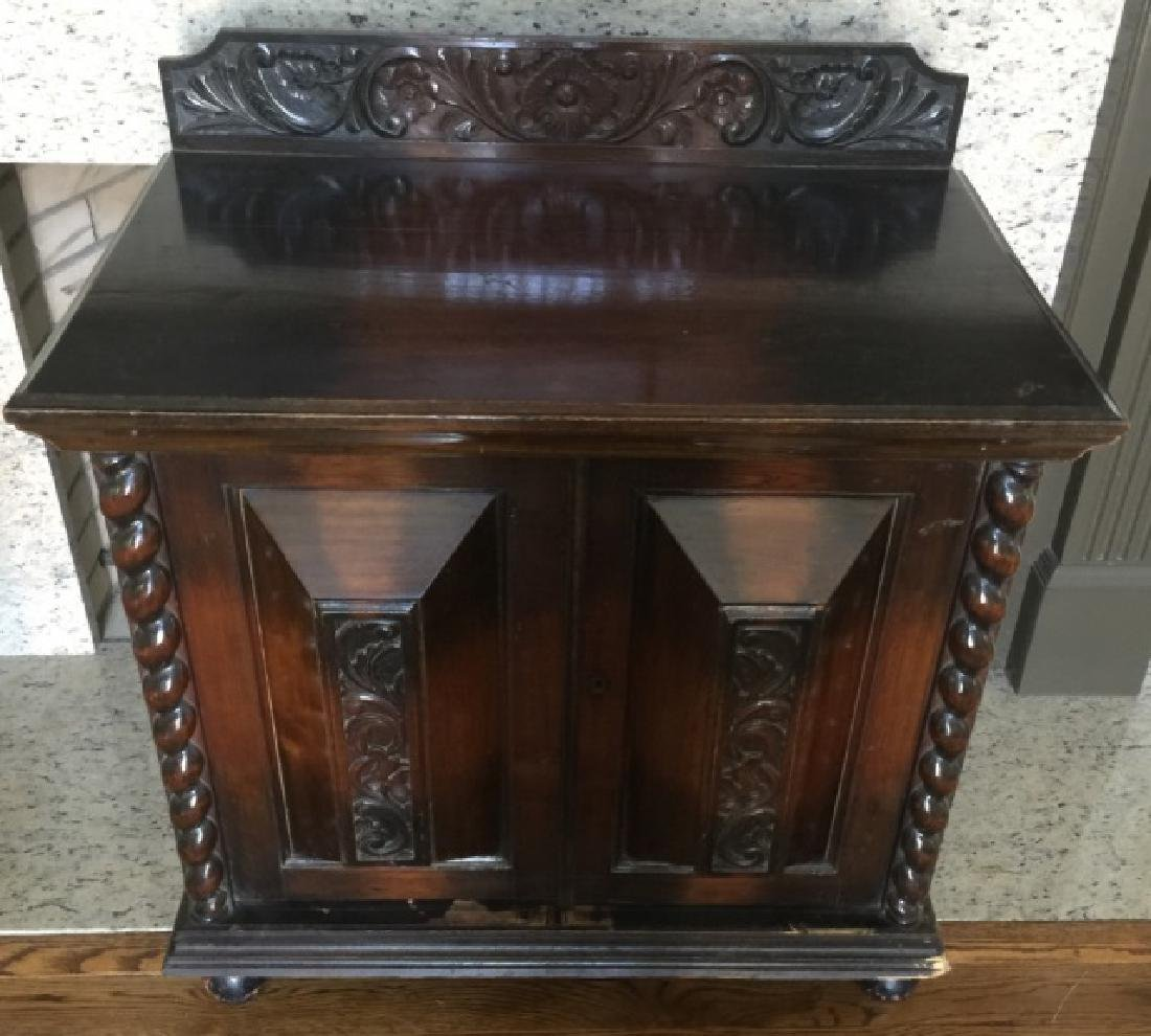 Antique Carved English Style Console Cabinet