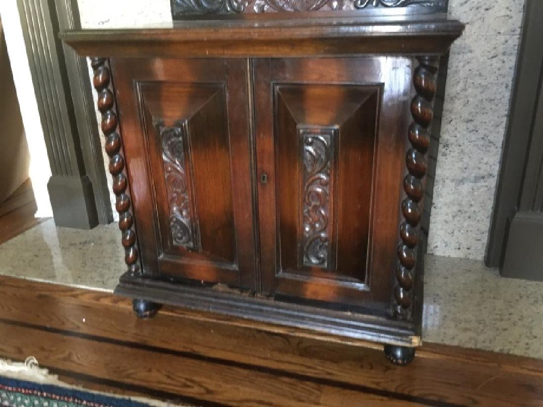 Antique Carved English Style Console Cabinet - 3
