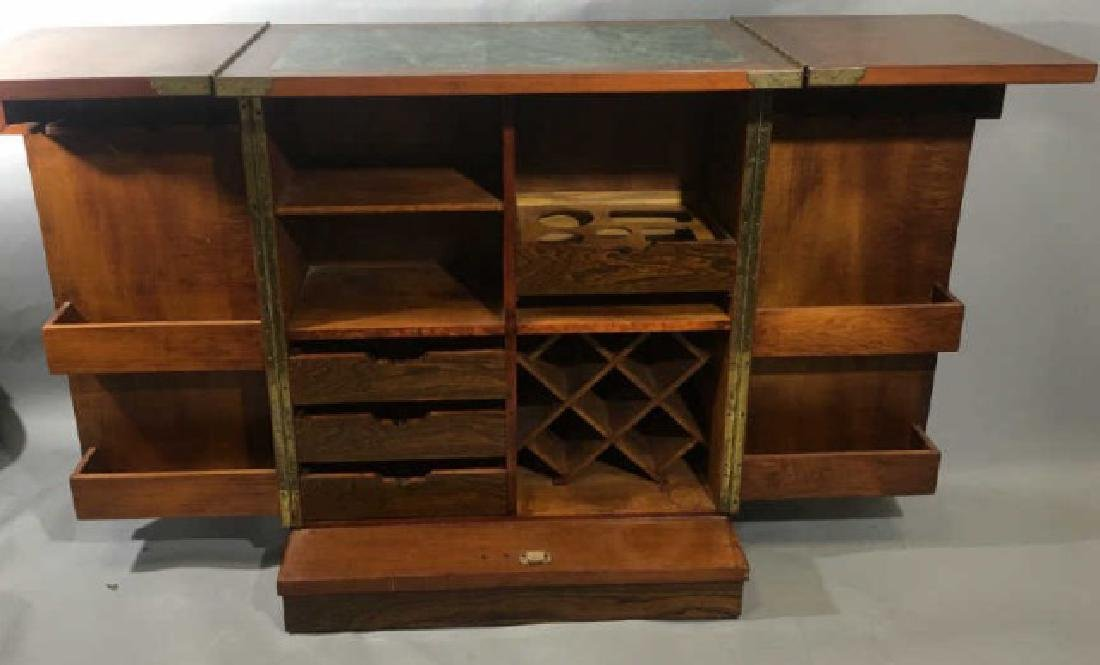 Asian Granite Top Carved Wood Bar Cabinet