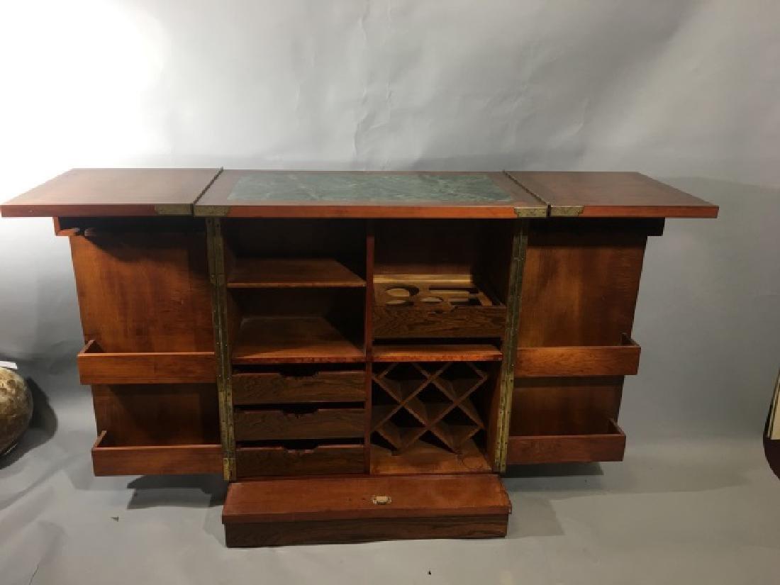 Asian Granite Top Carved Wood Bar Cabinet - 5