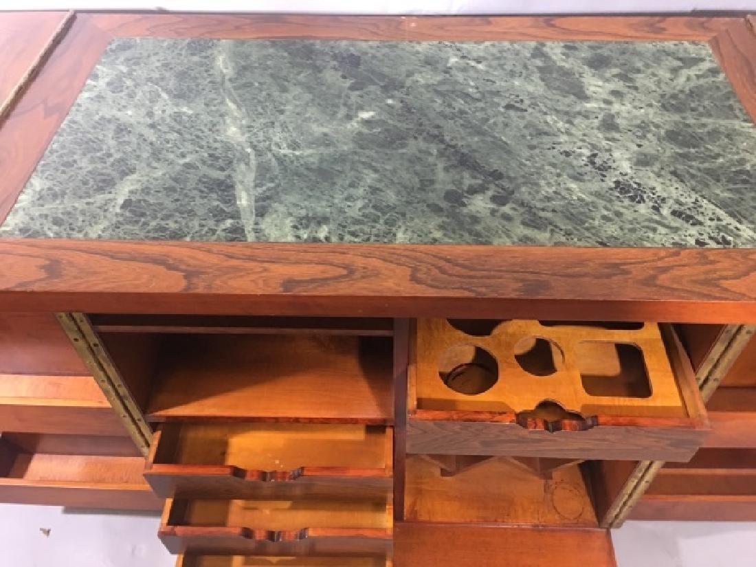 Asian Granite Top Carved Wood Bar Cabinet - 7