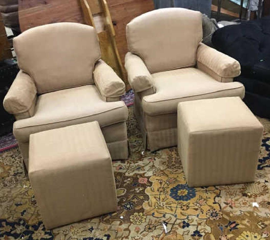 Pair Contemporary Beige Armchairs &Ottoman
