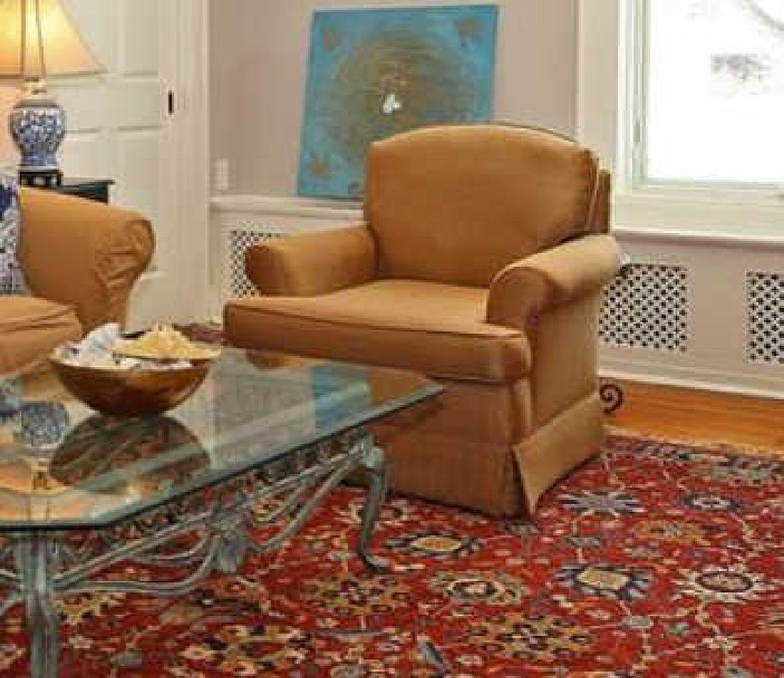 Pair Contemporary Beige Armchairs &Ottoman - 2
