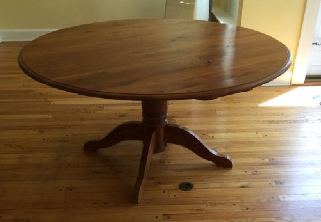Custom Made Round Cherry Wood Farm Table