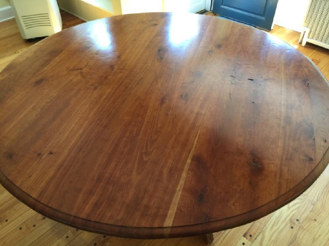 Custom Made Round Cherry Wood Farm Table - 2