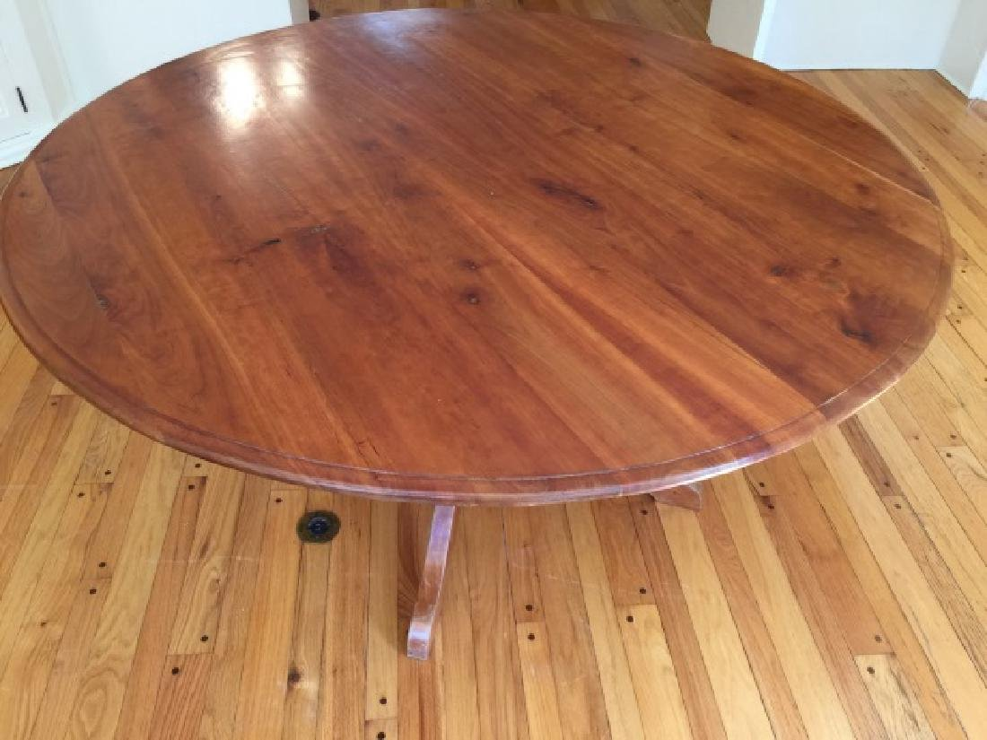 Custom Made Round Cherry Wood Farm Table - 3