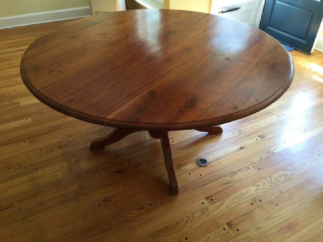 Custom Made Round Cherry Wood Farm Table - 5