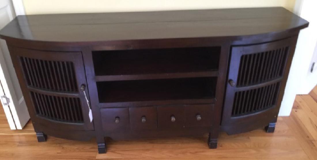 Contemporary Modern Ebony Tone Console Cabinet
