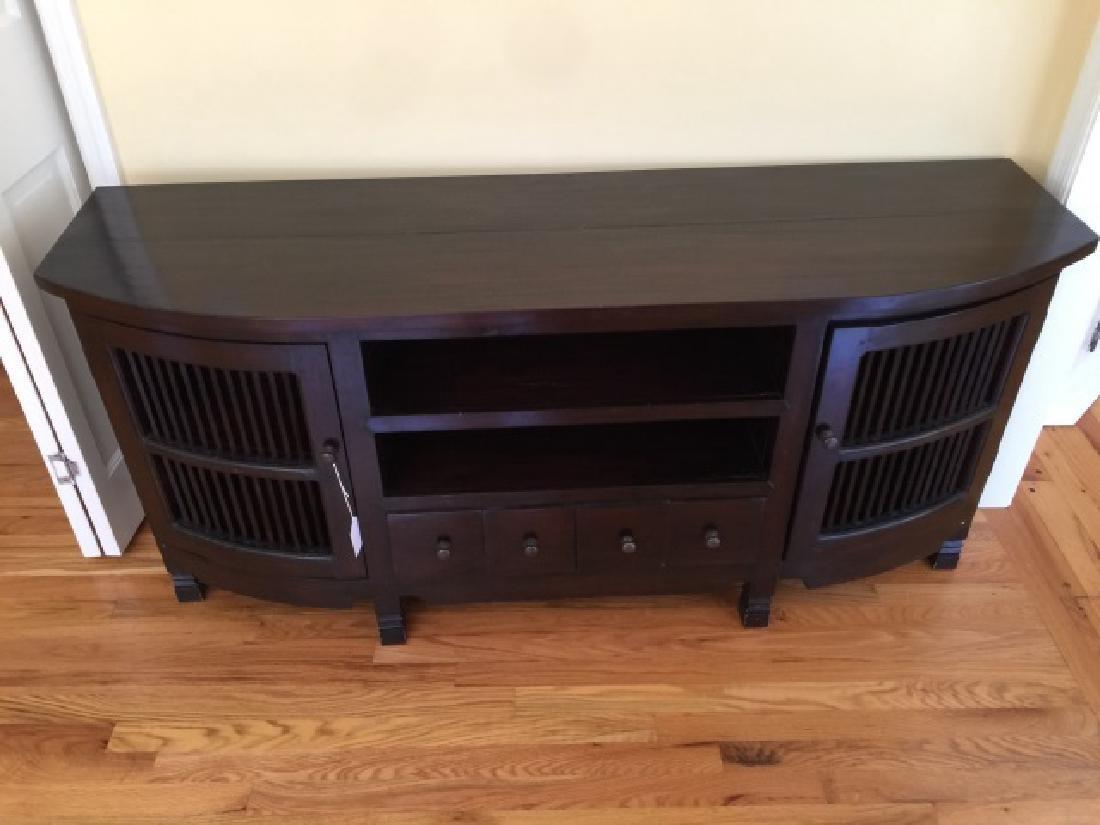 Contemporary Modern Ebony Tone Console Cabinet - 3
