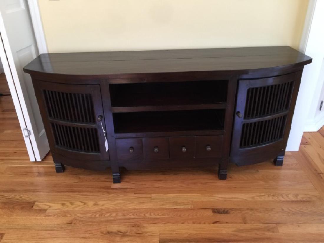 Contemporary Modern Ebony Tone Console Cabinet - 4