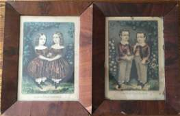Pair Antique 19th C Currier  Ives Twin Prints