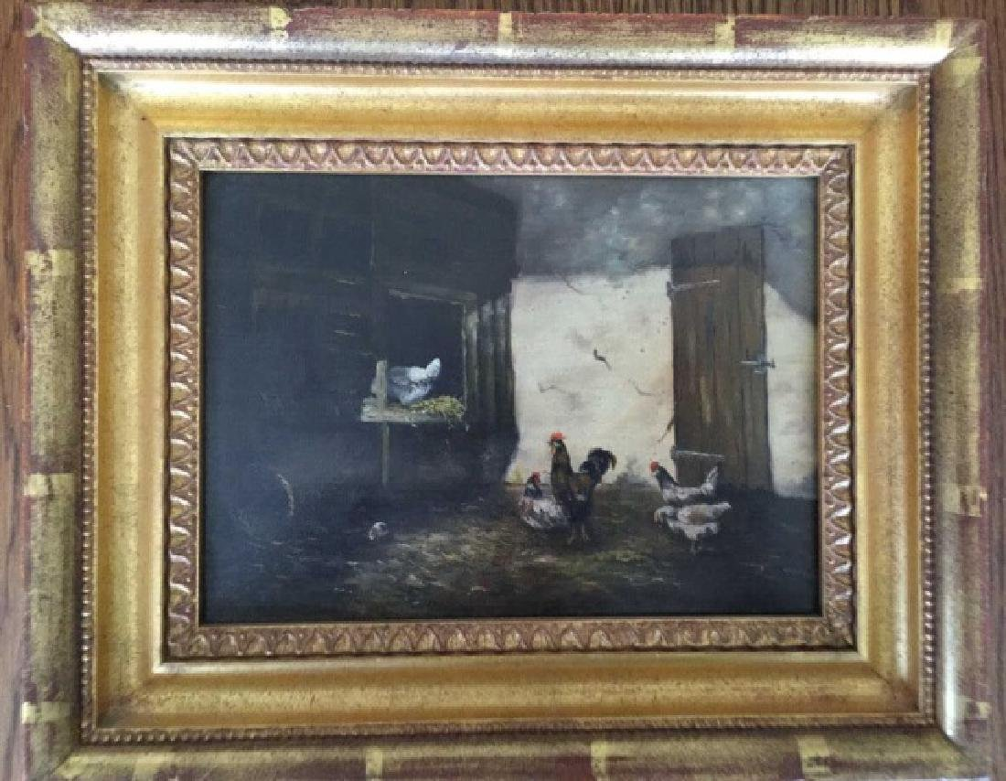 Oil Painting on Board Barnyard w Roosters in Frame
