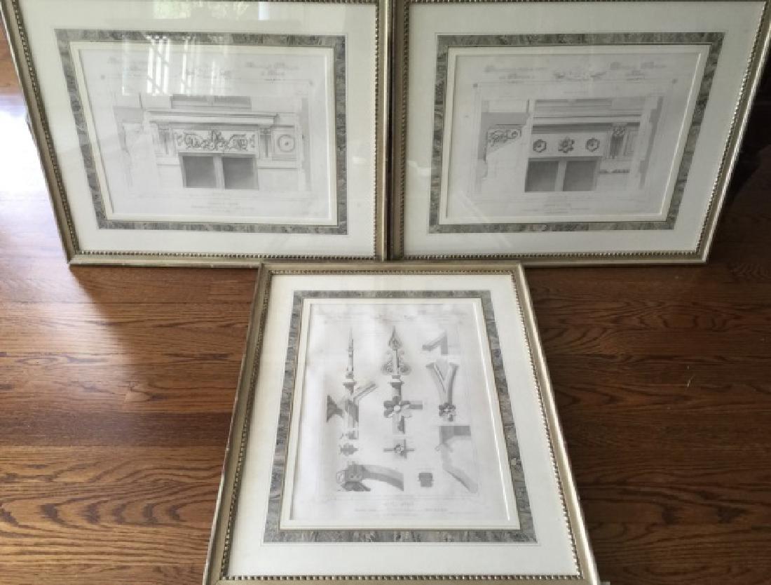 3 Antique 19th C Framed Architectural Prints