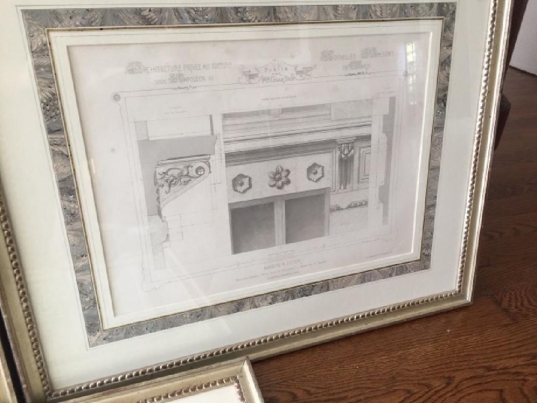 3 Antique 19th C Framed Architectural Prints - 2