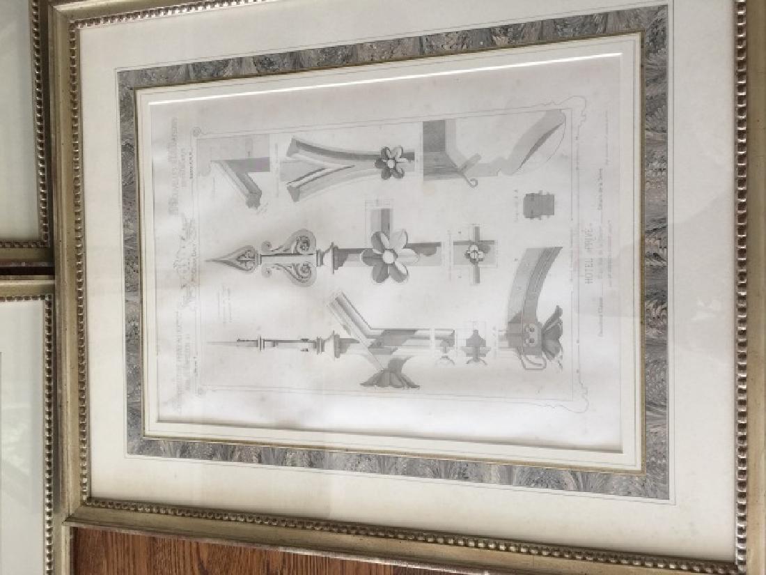 3 Antique 19th C Framed Architectural Prints - 3