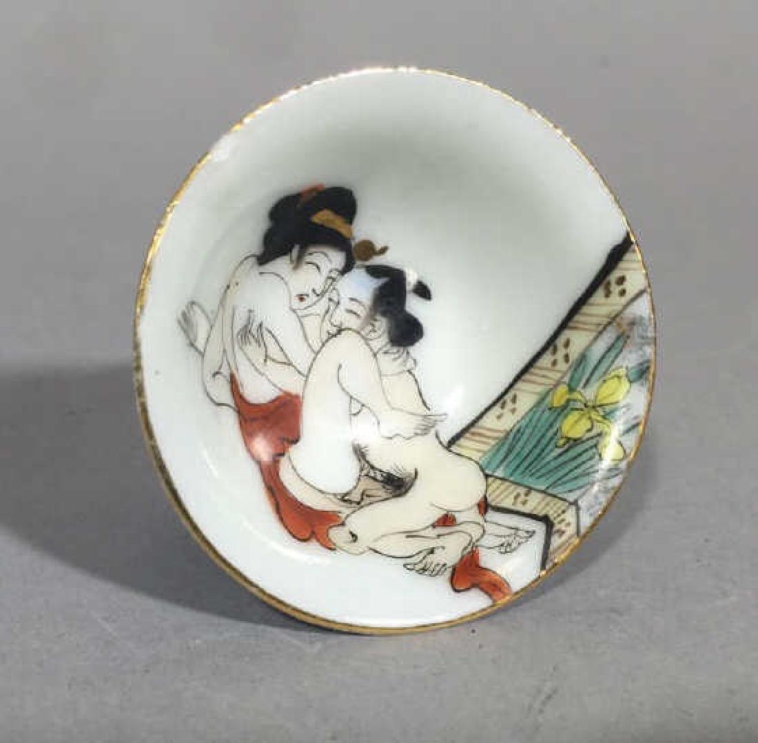 Miniature Asian Porcelain Erotic Motif Compote - 3