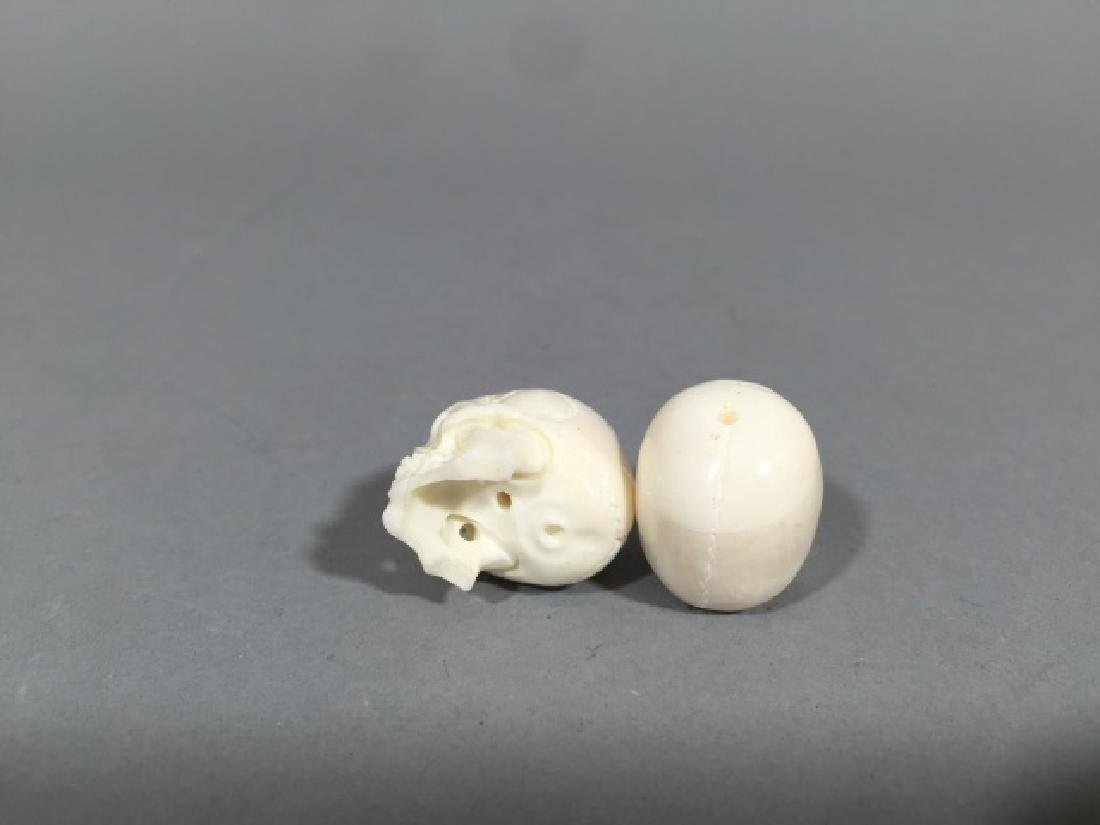 Pair Carved Bone Detail Memento Mori Skulls - 2